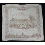 Great Exhibition 1851 silk shawl, with central depiction of the Crystal Palace and Prince Albert,