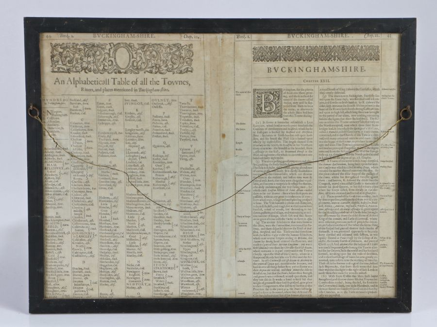 John Speed, circa 1610, Buckingham both Shyre and Shire towne described', dated 1610, the double - Image 2 of 4