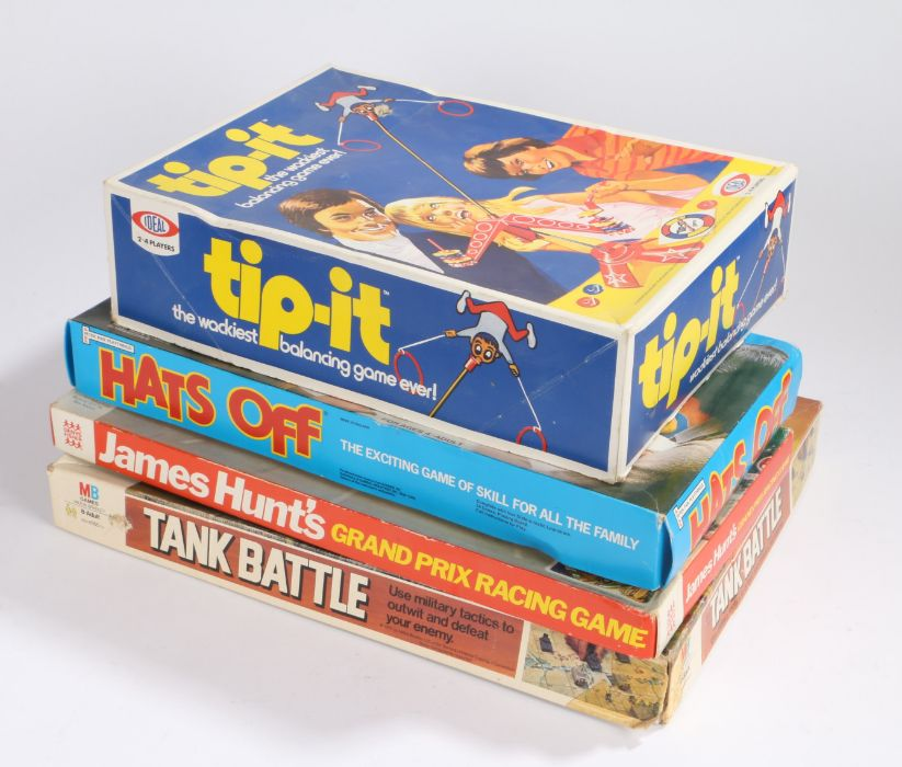 Board games, to include Tank Battle by MB Games, James Hunt's Grand Prix Racing Game, Denys