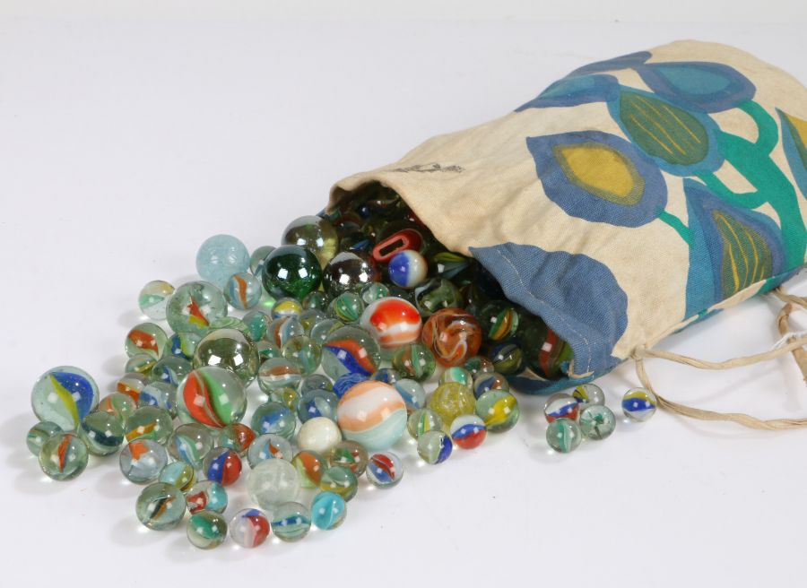 Collection of glass marbles, 20th century, to include ribbon core and opaque examples (qty)