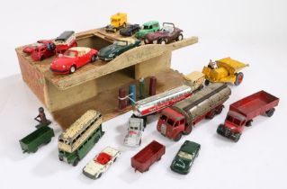20th Century painted wooden garage, including a collection of model vehicles, consisting of Corgi,