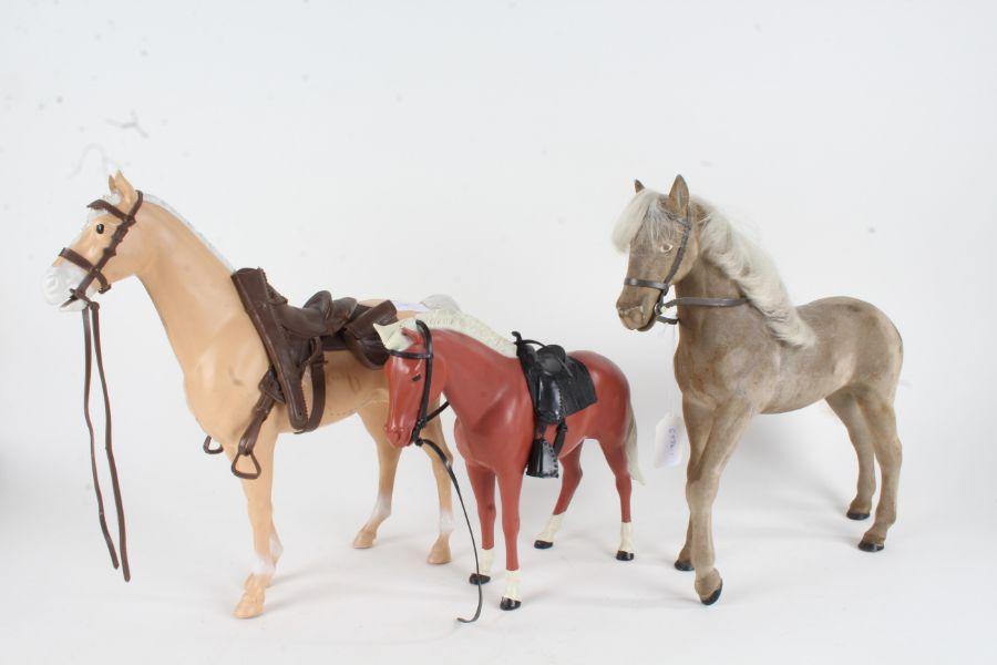 Three toy horses, 1960's Sindy horse (Peanuts), Johnny west (Thunderbolt) horse and Pony (Pancho) (