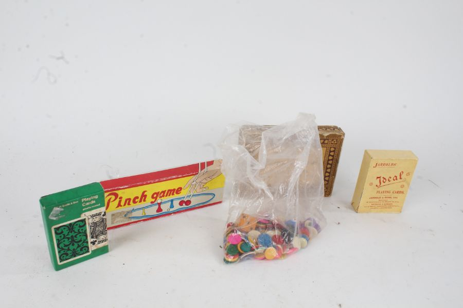 Collection of games to include Bezique, Pinch game, Jarrold & Sons cards, gaming counters etc. (