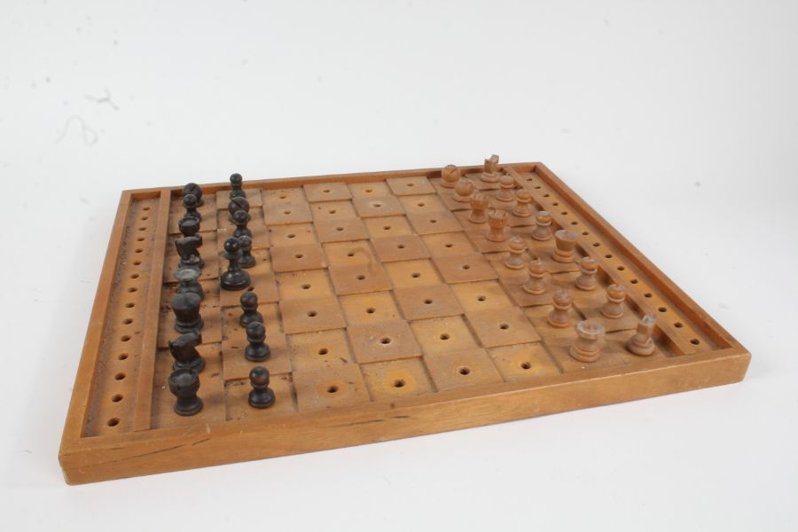 Wooden chest set and board (one pawn not original)