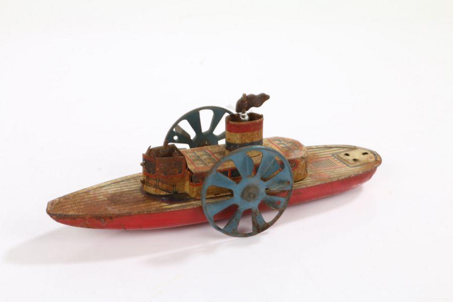 Tinplate paddle steamboat, 24cm long