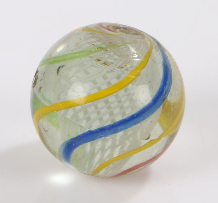 Large 19th Century Latticinio glass marble, in blue, white yellow and red, 30mm diameter