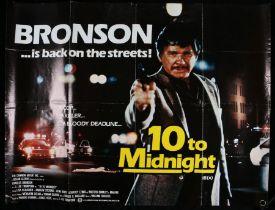 10 to Midnight (1983) British Quad poster, starring Charles Bronson, folded