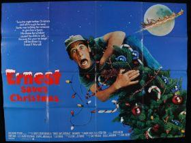 Ernest Saves Christmas (1988) - British Quad film poster, starring Jim Varney, Douglas Seale, and