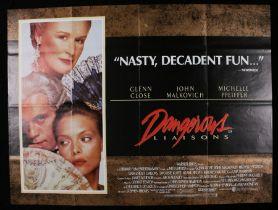 Dangerous Liaisons (1988) - British Quad film poster, starring Glenn Close, John Malkovich, and