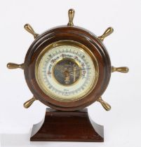 Gischard of Germany barometer, in the form of a ships wheel. 9.5cm high