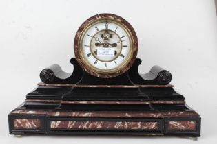 Ebonised marble effect mantel clock, the enamel dial with Roman numerals and visible escapement, the