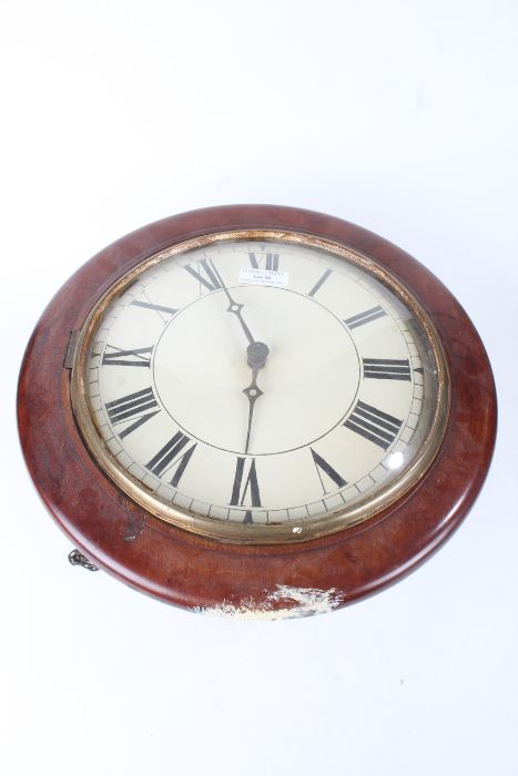 Victorian mahogany cased postman's alarm clock, the white dial with black Roman numerals, with