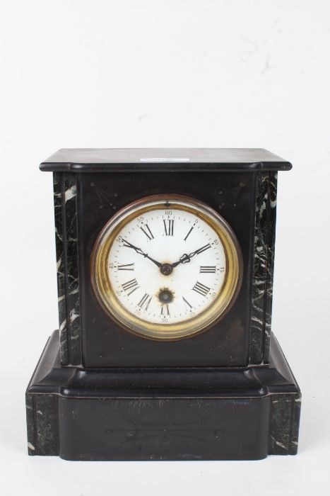 Slate and marble mantel clock, the white enamel dial with Roman numerals and Arabic minutes track, - Image 2 of 2