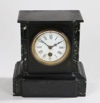 Slate and marble mantel clock, the white enamel dial with Roman numerals and Arabic minutes track,