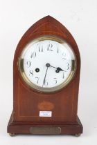 Edwardian mahogany and inlaid mantel clock, of lancet form, the enamel dial with arabic numerals,