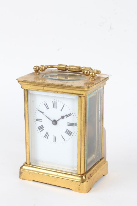French Duverdry & Bloquel brass case carriage clock, the enamel dial with black roman numerals, 11cm
