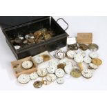 Collection of pocket watch movements, cases and dials (qty)