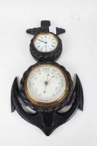 Nautical themed clock/ aneroid barometer, the white enamel clock dial with Roman numerals ,