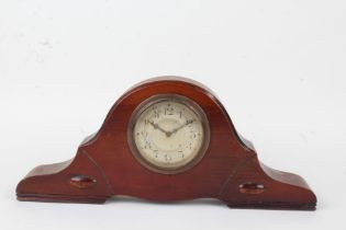 Edwardian mahogany Napoleon hat mantel clock, the silvered dial with Arabic numerals, the case