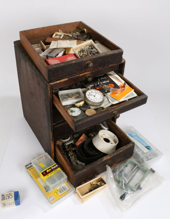 Small chest of five drawers containing wrist and pocket spare parts, Tissot rally style strap
