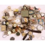 Collection of pocket and wristwatch movements, cases and dials, to include Chronographe Suisse dial,