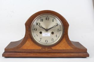 Edwardian Napoleon hat mantel clock, the silvered dial with Arabic numerals, the case with marquetry