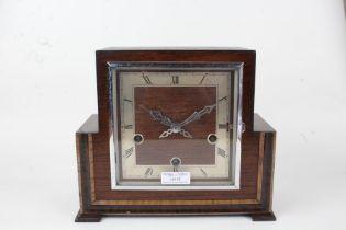 Enfield Art Deco mantle clock, the oak case having square dial with Roman numerals, 26cm wide