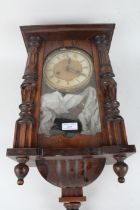 Early 20th Century Vienna style wall clock, the dial with Roman numerals, twin train movement