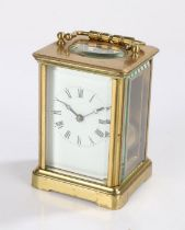 20th Century brass cased carriage clock, having visible platform escapement, white enamel dial
