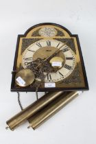 Brass Wall clock made by Hermle with Roman numerals, mask and acanthus leaf spandrels