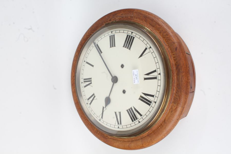 20th Century oak dial clock, the white dial with Roman numerals, 40cm diameter