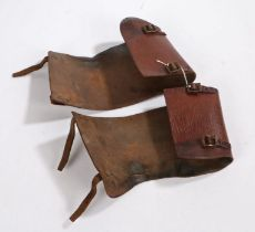 Second World War British leather gaiters of the type issued to the Home Guard, inner sides