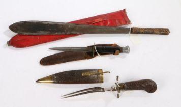 Early 20th century Kenyan Kikuyu Simi knife, crude, leaf shaped blade, held in wooden scabbard, hilt