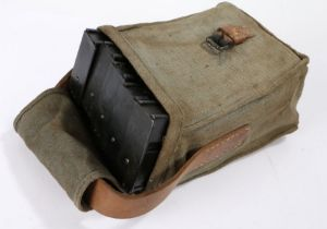 Russian/Warsaw Pact ammunition pouch, webbing with leather strap, containing 5 curved magazines,