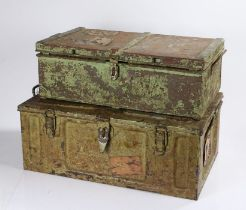 Military steel travelling/luggage trunk, possibly converted from an ammunition container, named