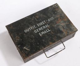 Second World War British First Aid case for vehicles, black painted tin with 'First Aid General'