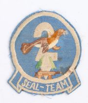 U.S. Navy SEAL Team 2 shoulder sleeve insignia, embroidered on twill with cheesecloth backing,