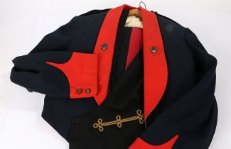 British army Officers Mess Dress uniform items, blue cloth jacket appears to be badged to The