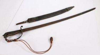 Imperial German M1864 Faschinenmesser, curved steel blade in poor condition, handle missing, held in