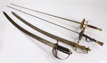 Sport fencing foil, together with an ornamental Spanish rapier and two ornamental swords made in