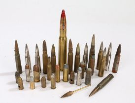 Selection of small calibre cartridge cases and projectiles, for drill/display purposes, inert, (