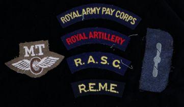 Second World War British Motor Transport trade badge and RAF Leading Aircraftsman rank badge