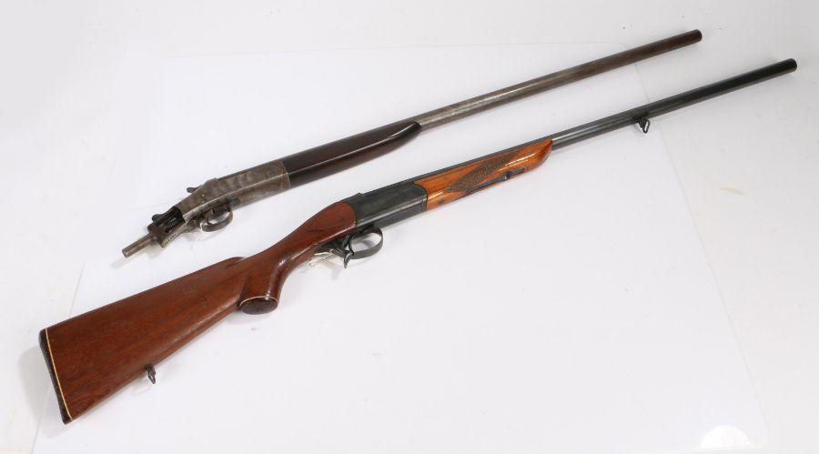 Baikal Model IJ-18 12 bore shotgun, single barrel, serial number XO4386, made in the U.S.S.R.,