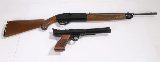 Powerline Model 722 .22 calibre Air Pistol, together with a Crossman 766 .177 Calibre Repeater