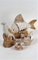 Shell mounted fish, bird, two swans, the largest 28cm high (4)