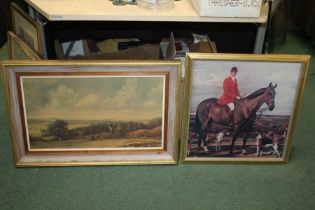 """John Constable print, """"Dedham Vale with Ploughmen"""", together with a coloured print depicting a"""