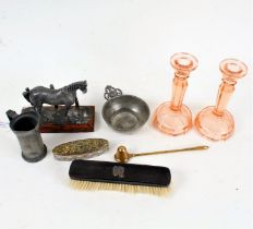 Works of art to include pewter taste de vin, small pewter measure, metal horse model, two glass