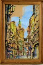 Watercolour depicting a Salzburg street scene, signed indistinctly lower right, housed in a