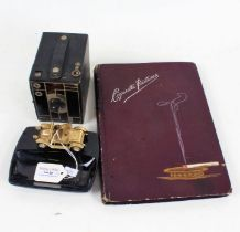 Eastman Kodak Beau Brownie camera, Lesney pin dish with car decoration, cigarette card album