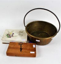 Collection of objects to include staffordshire ye old England, brass preserve pan and cigarette